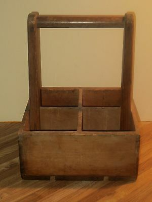 Antique Wooden Milk Bottle Crate With Handle, Holds Four Bottles