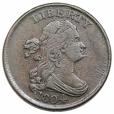 1804 Draped Bust Half Cent, Spiked Chin, C-6, LDS, rare Manley 10.2, VF-XF