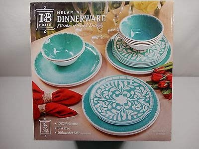18 Piece 6 Place Setting 100% Melamine Dinnerware Set Teal Turquois MOP Design