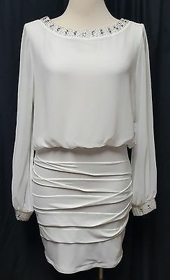 NWT Junior Ivory Long Sleeve Beaded Event Dress by Jodi Kristopher Size L
