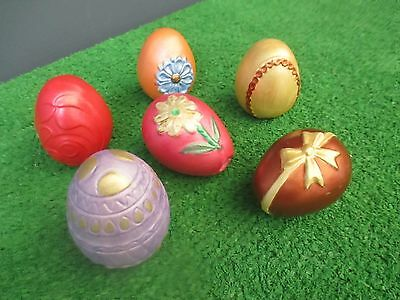 """CERAMIC DECORATED EASTER EGGS - LOT OF 6 -  2 1/4"""" x 2"""""""