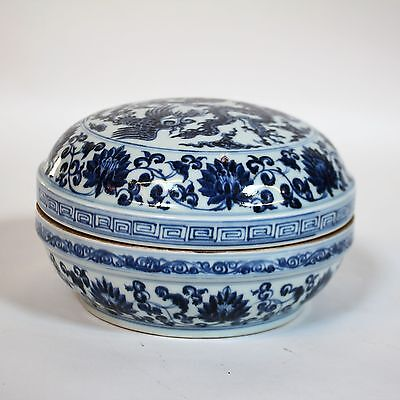 A Chinese Ming Style Blue And White Porcelain Box with Lid Xuande Mark Copy