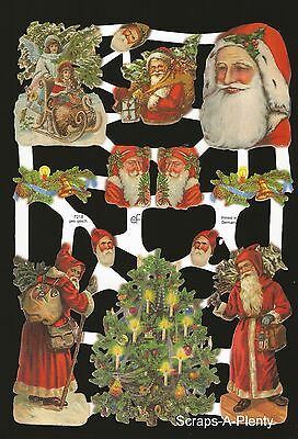 German Embossed Vintage Style Scrap Die Cut Relief - Christmas Tree Santa EF7218
