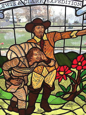 """Antique Stained Glass Panel - Lewis & Clark - Framed in Oak - 23"""" x 21"""" - Nice"""