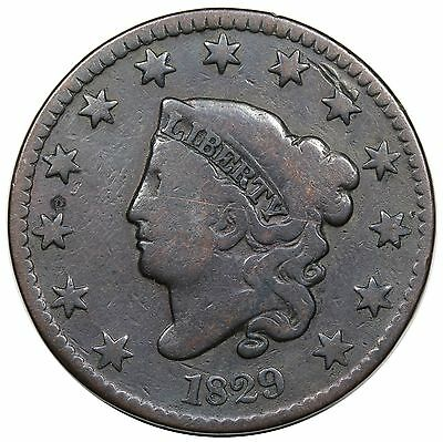 1829 Coronet Head Large Cent, Large Letters, N-2, VG+ detail