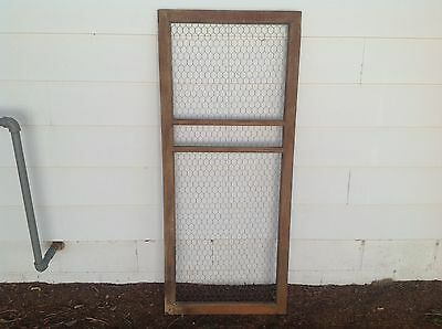 Vintage Wood Window Frame with Chicken Wire Backing 57 x 24 Inches
