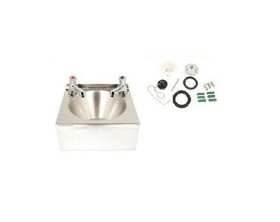 New Stainless Steel Hand Wash Basin Sink  with 2 push  taps & waste