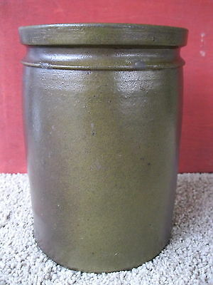 Antique Crock Primitive Stoneware Pottery, 1/2 Gallon, Circa 1880, Salt Glazed