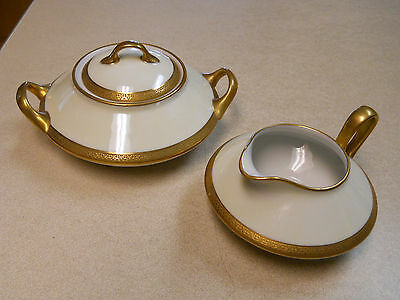 Antique French Limoges Old Abbey Creamer and Sugar Gild Trim with Bat Wing Detai