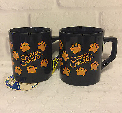 2 Vtg Chester Cheetah Cheetos Ceramic Coffee Mug Cup Black Orange Paw Prints