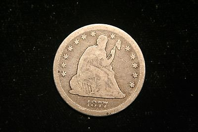 1877 S Seated Liberty Quarter , US Coin ,  FINE , Full Liberty!