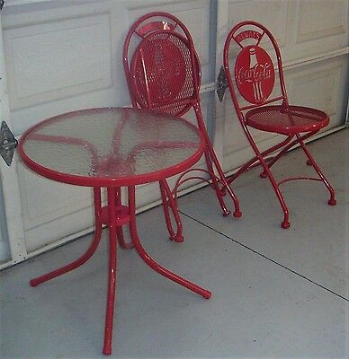 Coca Cola Metal Folding Chairs & Table Set-EXCELLENT CONDITION!
