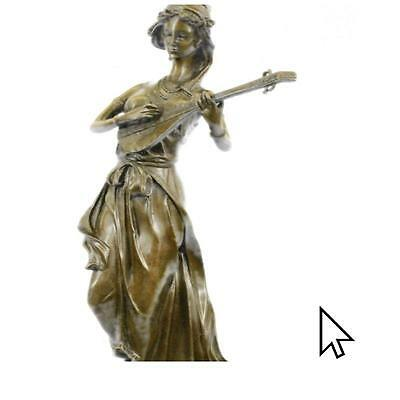 Bronze Sculpture Signed Young Woman Playing Sweet Music Sculpture Statue