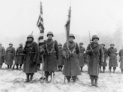 WWII B&W Photo Japanese American Soldiers 442nd RCT France 1944 WW2 / 1127