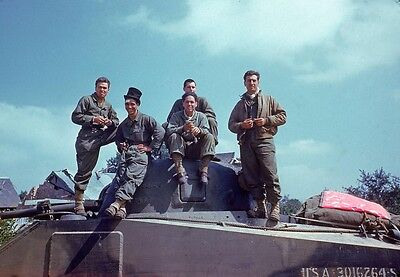 WWII Color Photo US Army M4 Sherman Tank Crew  WW2 World War Two / 1019