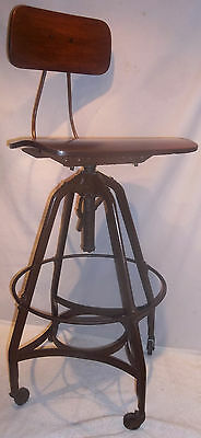 Antique Toledo UHL Industrial Drafting Stool Chair NICE FREE SHIPPING CONT. US