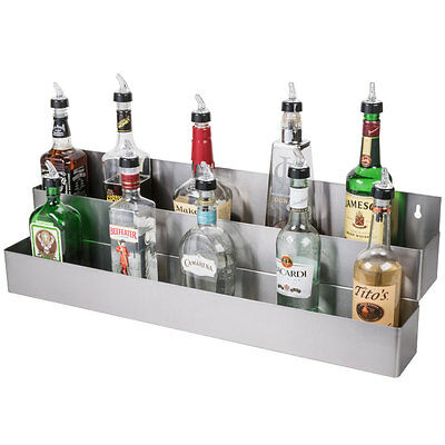 "32"" Stainless Steel Double Tier Commercial Bar Speed Rail Liquor Display Rack"