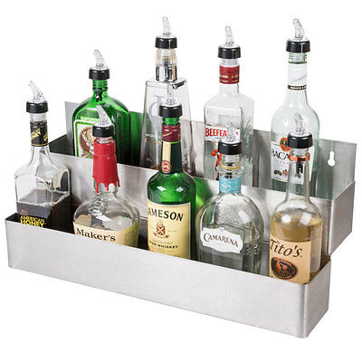 "22"" Stainless Steel Double Tier Commercial Bar Speed Rail Liquor Display Rack"