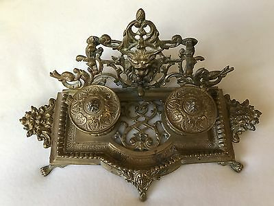 Large Antique Brass Inkwell,