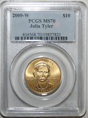 2009-W PCGS MS70 Gold $10 First Spouse Series JULIA TYLER