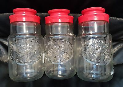 3 Vintage Maxwell House Coffee Bicentennial Anchor Hocking Canisters 1776-1976