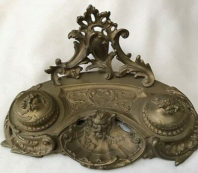 Large Antique Solid Brass Inkwell