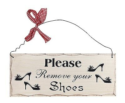 "Please Remove Your Shoes Wood Sign-Decorative Plaque 10""L X 4""H"