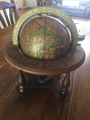 Old Olde World Globe Italian Stand Map Zodiac Vintage Map