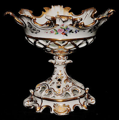 Fruit Compote centerpiece, Corbeille, porcelain, Old Paris, French, Rococo, 1850