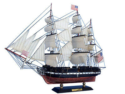 "USS Constitution Old Ironsides Tall Ship 15"" Built Wooden Model Boat Assembled"