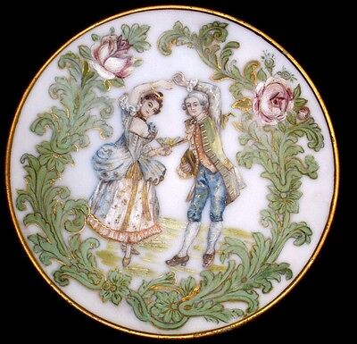 Antique Milk Glass Plate Victorian Roses & Dancers Painting Hand Painted REGENCY