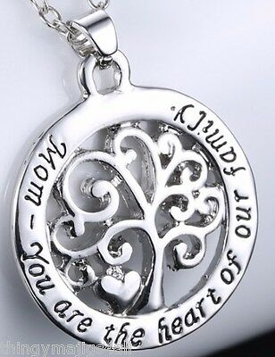 Silver Mom Mother Necklace Heart Of Our Family Tree of Life Pendant Gift Mum ❤