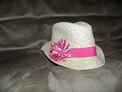 """""""The Children's Place"""" girls FEDORA ivory PINK flower HAT, size large"""
