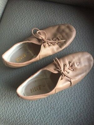 BLOCH Soft Leather Dance Stage Jazz Shoes Lace up Nude Women's 7 Ballet