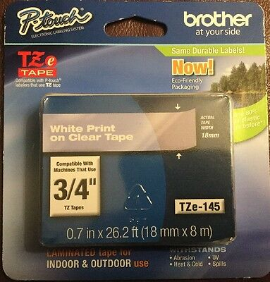 """Brother TZe-145 3/4"""" White Print on Clear Tape (18mm x 8m) Indoor & Outdoor"""