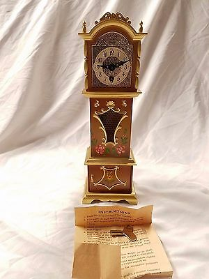 Vintage Engstler Germany Miniature Grandfather Clock with Key and Pendulum