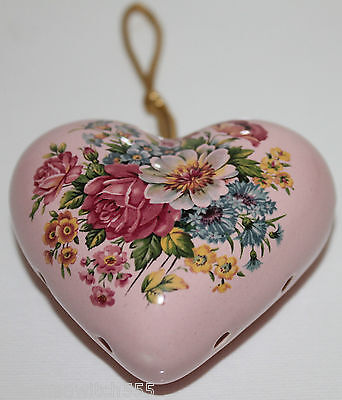 Vintage Pink Heart Pomander Floral Ceramic Ornament Aidees of Torquay England