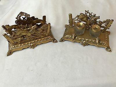 Victorian Bradley And Hubard Inkwell And Letter Holder Set #3549