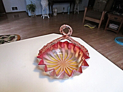 Gorgeous Victorian Art Glass Wedding Basket Twisted Thorn Handle Murano