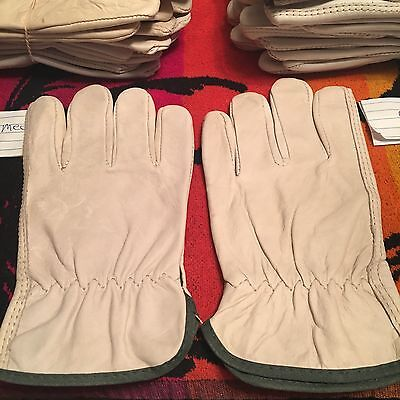 ONE Pair Pack, Goat Skin Grain Leather Drivers, work safety gloves Size MEDIUM