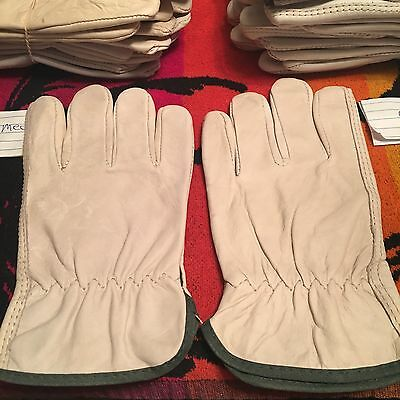 ONE Pair Pack, Goat Skin Grain Leather Drivers, work safety gloves Size LARGE.