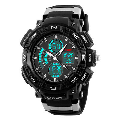 New 2017 Mens Sports Watch Dual Time Display Chronograph Alarm Water Resistant