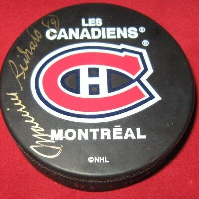 Maurice Richard Autographed Signed Montreal Canadiens Puck Habs .