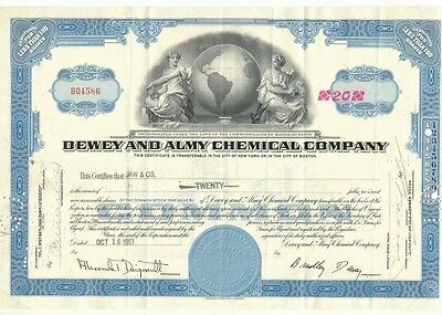 1951 Dewey & Almy Chemical Stock Certificate