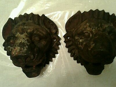 Antique Twin Large Cast Iron Architectuural Lion Heads  Reduced Final Sale Price