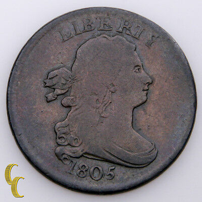 1805 Draped Bust Medium 5 Stemless Half Cent 1/2C (Very Good, VG Condition)