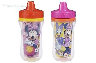 Toddler Sippy Cups 2 Pack 9 Ounce Insulated BPA Free Baby Girl Spout Cup Lid New