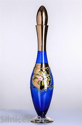 Cobalt Blue Decanter With Gold Overlay And Raised Hand Painted Flowers