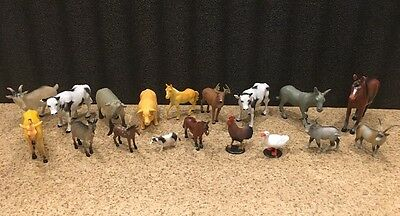 Farm Animal Lot Of 18 Toys Cow Pig Horses Donkey Deer Duck Sheep Kids Play Toys