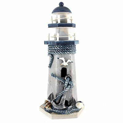 """Anchor Wooden Lighthouse Nautical Themed Rooms Lighthouse Home Decor 10""""H"""